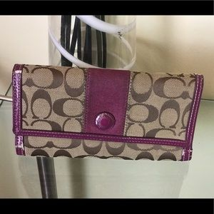 COACH tan Signature Purple Leather large Wallet